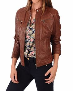 Leather Planet Women's Lambskin Leather Bomber Biker Jacket X-Small Brown >>> More info could be found at the image url.