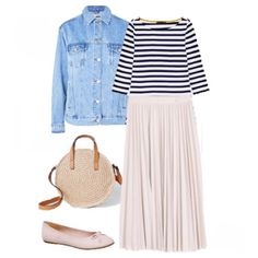 Striped tee+denim jacket+blush pleated skirt+blush ballerinas+raffia handbag. Spring Casual Outfit 2018