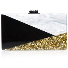 Edie Parker Jean Harlow Art Deco Clutch ($1,395) ❤ liked on Polyvore featuring bags, handbags, clutches, special occasion handbags, evening purse, black clutches, glitter purse and glitter handbags