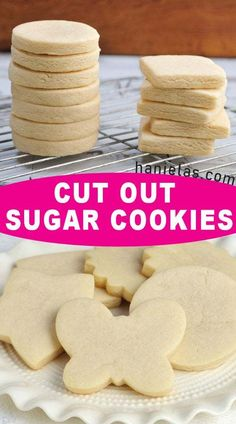 Make delicious Cut Out Sugar Cookies with step by step picture and video tutorials. Troubleshooting and Sugar Cookie FAQ. cookie recipe Cut Out Sugar Cookies Chewy Sugar Cookies, Christmas Sugar Cookies, Cookies Et Biscuits, Shortbread Cookies, Cut Out Sugar Cookies, Gingerbread Cookies, Vanilla Sugar Cookies Recipe, Christmas Cookie Recipes, Sable Cookies