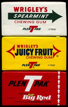 Wrigley's Spearmint, Juicy Fruit & Big Red chewing gum (1980's).