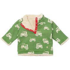 Buy Frugi Baby Reversible Tractor Fleece, Green/Cream Online at johnlewis.com