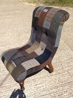 Antique Slipper Chair lovingly wrapped in Harris Tweed Tartan Patchwork.