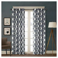 "Roku Printed Dot Curtain Panel - Red 50""x84"") : Target (in Navy or Gray)"