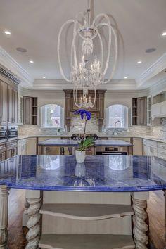 Sodalite blue granite countertops and backsplash ...