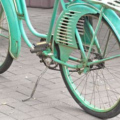 """Bicycle Photography - 5x5 inch Fine Art Teal Bicycle Photo - """"Cruising About Town"""" via Etsy."""