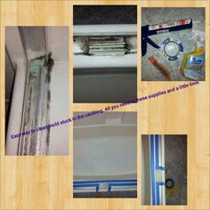 Best way to redo bathroom caulking that has mold. First remove old caulking with a box cutter. Then clean with tilex (works the best!!). Wait till everything us completely dry and seal of with painters tape. Apply caulking and let dry then peel tape. Done!!
