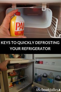 A step-by-step guide of how to quickly defrost a boat refrigerator for improved refrigerator efficiency.