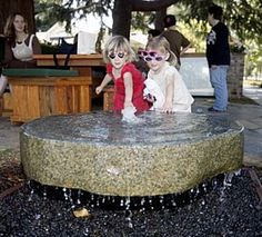 family made their front yard into an outdoor living room complete w/water feature. Wood Playground, Natural Playground, Backyard Playground, Garden Fountains, Water Fountains, House Yard, Water Features In The Garden, Outdoor Classroom, Dream Garden