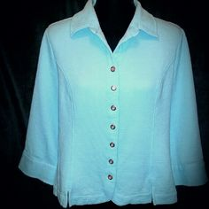 "Robin's Egg Blue, Snap-Up, 3/4 Sleeve Jacket Soft waffle type material, (similar to long Johns, but thicker); beautiful blue color; silver tone snaps down front & at cuffs; 3/4 Sleeve length; 20"" across chest, 23"" length;  Excellent condition, no issues. Christopher & Banks Jackets & Coats"