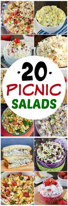 20 Picnic Salads - any of these sweet and savory salads are perfect for any picnics or parties this summer. Great recipes to share with friends! #summer #picnic #salad