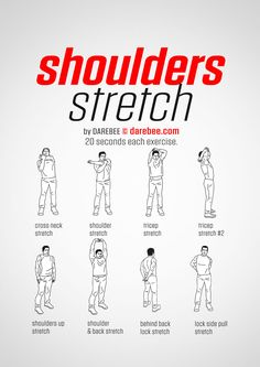 Exercise - Shoulder Stretch Workout Posted By CustomWeightLossProgram com exercisestolosebellyfatfast Fitness Workouts, Yoga Fitness, Gym Workout Tips, At Home Workouts, Health Fitness, Shoulder Stretches, Body Stretches, Stretches Before Workout, Shoulder Stretching Exercises