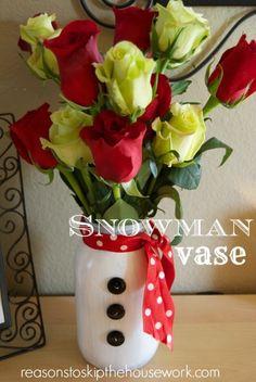 Snowman Vase of 2014 DIY painted mason jars with roses - wedding gift, Christmas craft