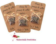 """Carte sachet de graines, Mariage nature , raphia, champêtre cadeaux invités, personnalisable, """"semez les graines de notre amour"""""""