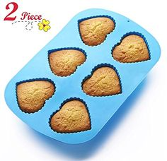 Chefaith 2 Pcs 6Cup Silicone Muffin  Cupcake Baking Pan HeartShaped Baking Cups  NonStick Heat Resistant Up to 480F Mini Cake Baking Mold  Tray Food Grade Reusable Bakeware Blue ** Click image to review more details.-It is an affiliate link to Amazon. #KitchenUtensils