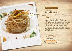 Spaghetti alla chitarra con ragù di coda di rospo, fiori di zucca essiccati e polvere di prosciutto crudo di Parma