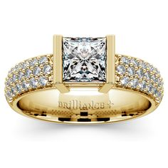 Pave the way to Forever with the beautiful Half Bezel Princess Diamond Engagement Ring in Yellow Gold, with shimmering diamonds reminiscent of the glorious stars! http://www.brilliance.com/engagement-rings/half-bezel-diamond-ring-yellow-gold-3/8-ctw