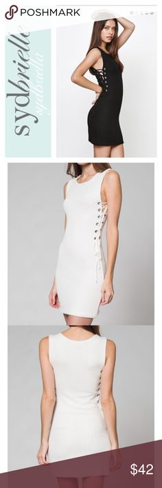 CLOSET CLOSING today  reduced from $49 ‼️ reduced from $49‼️⚜NEW ARRIVAL⚜HONEY PUNCH White knit dress with side tie up lace.  S(2-4) M6(-8) L(10-12). This dress has a lot of stretch.  Fully lined. Made USA. This dress is a whiter white you can take this dress from fall to winter. Honey Punch sold at ASOS Pacsun Lulus Urban Outfitters Ect. Price firm unless bundled. Honey Punch Dresses Mini