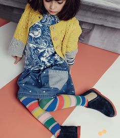New prints for girls at Mini Boden with Japanese style graphics on denim for Autumn/winter 2015