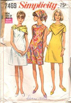 Vintage 60s Sewing Pattern MOD Slim DRESS with by HoneymoonBus, $7.99