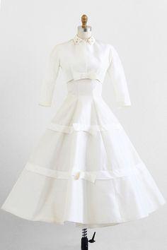 vintage 1950s silken taffeta wedding gown + matching jacket | wedding dresses | http://www.rococovintage.com