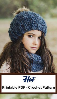 Winter Hat Crochet Patterns - A More Crafty Life Crochet Shell Stitch, Crochet Cap, Quick Crochet, Crochet Beanie, Crochet Stitches, Crochet Patterns, Hat Patterns, Crotchet, Crochet Ideas