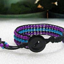 """Beaded Cuff Bracelet In Purple And Teal Beads, Bohemian Jewelry, Cuff, Hippie, Wrap Style Bracelet    Black Button Closure For Ease Of On/Off Fits 7 1/2"""" Wrist Makes A Great Gift"""