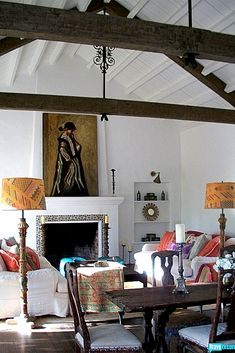 Love this room! especially the floor lamps and the rustic quality. Kathryn Ireland, Ojai