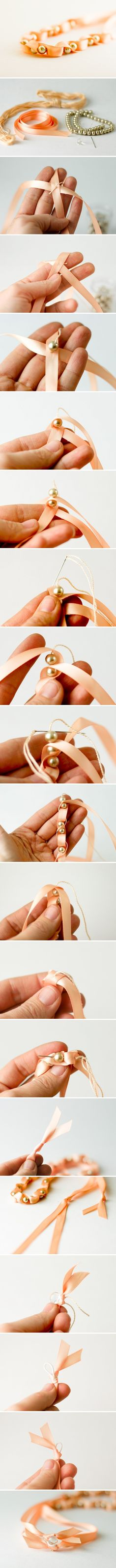 Makes more sense than the other ribbon & pearl project I tried.  DIY Ribbon craft #diy #craft www.BlueRainbowDesign.com