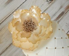Gold Sugar Peony Wedding Cake Topper by SUGARonTOPsugarart on Etsy