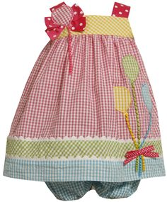 Bonnie Jean Baby/INFANT 12M-24M 2-Piece MULTICOLOR BALLOON BOUQUET COLOR BLOCK SEERSUCKER Spring Summer Birthday Party Dress  Price:$29.90