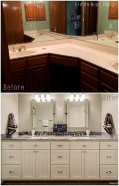 Bathroom makeover. A complete transformation including marble tile shower, penny tile flooring, and beautiful white airy design