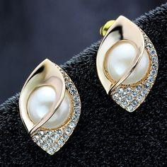 Double pink pear earrings, ear studs