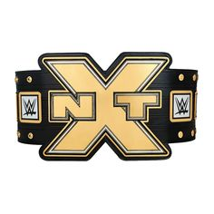 Featuring the NEW WWE Logo unveiled in 2014,  this NXT Championship Replica Title Belt is an exact-scale replica of the one seen on NXT.       	Main Plate Material: Stainless Steel 	Side Plate Material: Zinc Alloy 	Strap Material: Polyurethane 	Strap Dimensions: 49.21