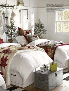 farmhouse Christmas bedroom decor with pretty nice blanket. Pottery Barn Christmas, Cottage Christmas, Cozy Christmas, Rustic Christmas, Beautiful Christmas, Primitive Christmas, Outdoor Christmas, Simple Christmas, Christmas Trees