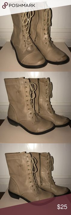 MIA combat boots Tan lace up combat/hipster boots. Worn once, just wasn't my style and I never wore them enough. Mia Shoes Shoes Combat & Moto Boots