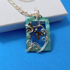 Dragonfly Jewelry Gift for Wife, Wire Wrap Dragonfly Necklace
