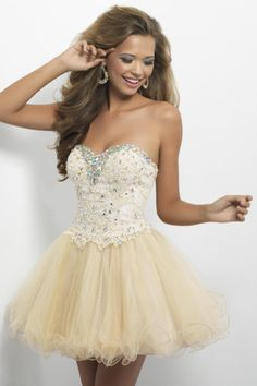 Kati's prom dress she is going to wear with cowboy boots -A Line Sweetheart Short Mini Color Champagne