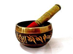 """Large Vintage Tibetan Chakra Singing Bowl , Original Brass SPIRITUAL Meditation Relaxing Bowl,""""Om Mani Padme Hum"""" Collectable on Etsy, $49.00"""
