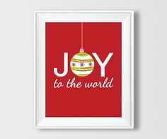 Christmas Printable, Joy to the World, Holiday Ornament Print, Winter Decor, Christmas Print, Christmas Decor, Instant Download