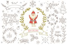 Cute doodle Christmas design kit. The elements are very easy to combine. Make your own designs and have a lot of fun! You will receive: - 4 EPS-files with the elements - 4 JPG-files