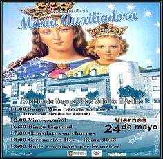 24/05 Festividad de Maria Auxiliadora. Valle de Tobalina 11:00h Residencia Tercera Edad.