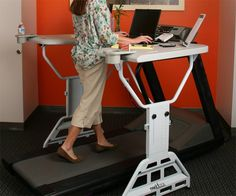 """America, time to get moving! Dr. James Levine of the Mayo Clinic came up with the idea of a """"Treadmill Desk"""".  Dr Levine's research revealed that on average his subjects burned 100 extra calories every hour while walking slowly, less than 1 mile per hour, at a Treadmill Desk. If individuals were to replace 8 hours a day of sitting at their desk with a Treadmill Desk, a weight loss of 57 pounds a year could occur. #standingdesk"""