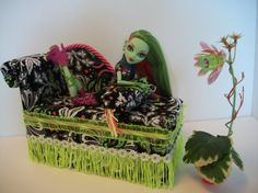 Furniture for Monster High Dolls Handmade Chaise Lounge Bed for Venus McFlytrap with Bolster Pillow and Working Lamp. $35.00, via Etsy.