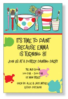 Painting #party #Invite for girls #birthday
