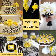 Yellow with Black and White Wedding Colors Yellow Wedding Colors, Yellow Theme, Theme Color, Wedding Color Schemes, Yellow Weddings, Color Themes, Colour, Wedding Themes, Wedding Decorations
