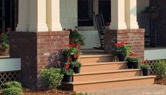 Red flowers line the steps of The Cedar Ridge front porch. #1125-D http://www.dongardner.com/plan_details.aspx?pid=3151. #Front #Porch #Spring