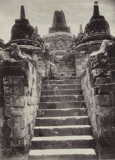 Man at Borobudur temple, Central Java, Indonesia, circa 1910.