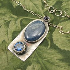 """Kyanite and Iolite """"Evening Window"""" Sterling Pendant with """"Tanzanite"""" faceted CZ - OOAK by marybird on Etsy"""