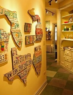 license plate wall || add each state you have lived in, perhaps? [mine would be pretty small at this point, meh]